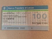 100 Lire (Banca Popolare di Lecco) – obverse