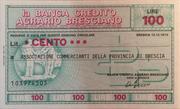 100 Lire (Banca di Credito Agrario Bresciano) – obverse