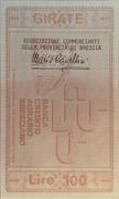 100 Lire (Banca di Credito Agrario Bresciano) – reverse