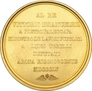 Medal - Opening of the train line Genua to Arona – reverse