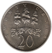 20 Cents - Elizabeth II (wide legend letters) – reverse