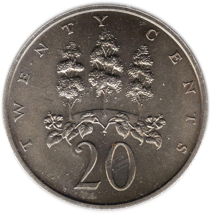 20 Cents Elizabeth Ii Wide Legend Letters Jamaica Numista