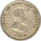 1 Farthing - Edward VII (Arms with vertical shading) – reverse