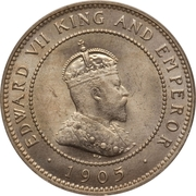 ½ Penny - Edward VII (Arms with vertical shading) – reverse