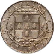 ½ Penny - Edward VII (Arms with vertical shading) – obverse
