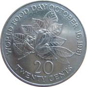 20 Cents - Elizabeth II (FAO; wide legend letters) – reverse