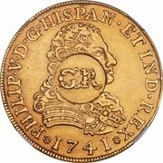 5 Pounds - George II (PHILIP V D G HISPAN ET IND REX) – obverse