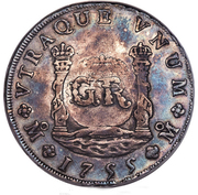 6 Shillings 8 Pence - George II (FERDND VI D G HISPAN ET IND REX; imperial crown; Mexico City mint) – reverse
