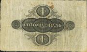 1 Pound (Colonial Bank) – reverse