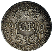 6 Shillings 8 Pence - George II (FERDND VI D G HISPAN ET IND REX; royal crown; Mexico City mint) – obverse