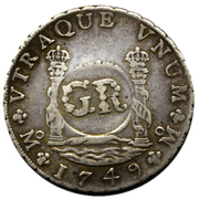 6 Shillings 8 Pence - George II (FERDND VI D G HISPAN ET IND REX; royal crown; Mexico City mint) – reverse