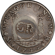 6 Shillings 8 Pence - George II (PHILIP V DG HISPAN ET IND REX; Mexico City mint) – reverse