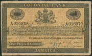 1 Pound (Colonial Bank; bank name in underprint) – obverse