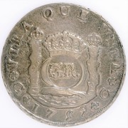 6 Shillings 8 Pence - George II (FERDIND VI D G HISPAN ET IND REX; Guatemala City mint) – reverse