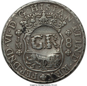 6 Shillings 8 Pence - George II (FERDND VI D G HISPAN ET IND REX; Lima mint) – obverse
