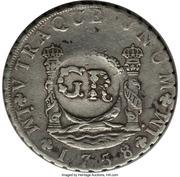 6 Shillings 8 Pence - George II (FERDND VI D G HISPAN ET IND REX; Lima mint) – reverse