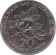 20 Cents - Elizabeth II (FAO; narrow legend letters) – reverse