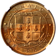 1 Penny - Edward VII (Arms with vertical shading) – obverse