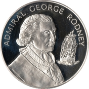 10 Dollars - Elizabeth II (Admiral George Rodney; Silver Proof Issue) -  reverse