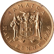½ Penny - Elizabeth II (Arms with supporters) – obverse