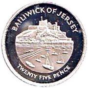 25 Pence - Elizabeth II (Silver Jubilee; Silver Proof) -  reverse