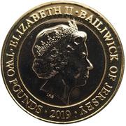 2 Pounds - Elizabeth II (60th Anniversary of Jersey Zoo - Gorilla) -  obverse