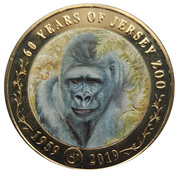 2 Pounds - Elizabeth II (60th Anniversary of Jersey Zoo - Gorilla) -  reverse
