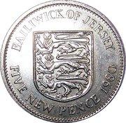 5 New Pence - Elizabeth II (2nd portrait) -  reverse