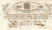 The States of Jersey £5 Bond Sterling 1840 – obverse