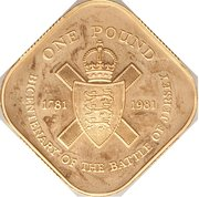 1 Pound - Elizabeth II (Battle of Jersey; Gold Proof Issue) -  reverse