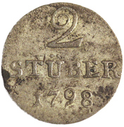 2 Stüber - Friederike Auguste Sophie – reverse