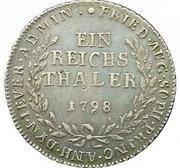 1 Reichsthaler - Friederike Auguste Sophie – reverse