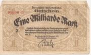 1,000,000,000 Mark (Reichsbahndirektion) – obverse
