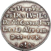 1 Ducat (Bicentennial of Augsburg Confession; Silver pattern strike) – reverse