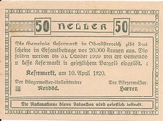 50 Heller (Kefermarkt) -  reverse