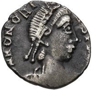 1 Siliqua - Anonymous / In the name of Honorius, 393-423 (Carthage; leg tucked-in) – obverse