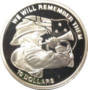 10 Dollars - Elizabeth II (ANZAC Day - Trumpet) – reverse