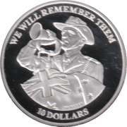 10 Dollars - Elizabeth II (ANZAC day - Clarion) – reverse