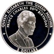 5 Dollars (50th Birthday of Prince Charles) – reverse