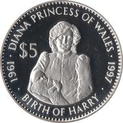 5 Dollars (Princess Diana) – reverse