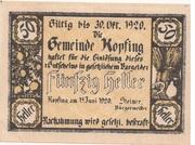 50 Heller (Kopfing) -  obverse