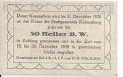50 Heller (Korneuburg) – reverse