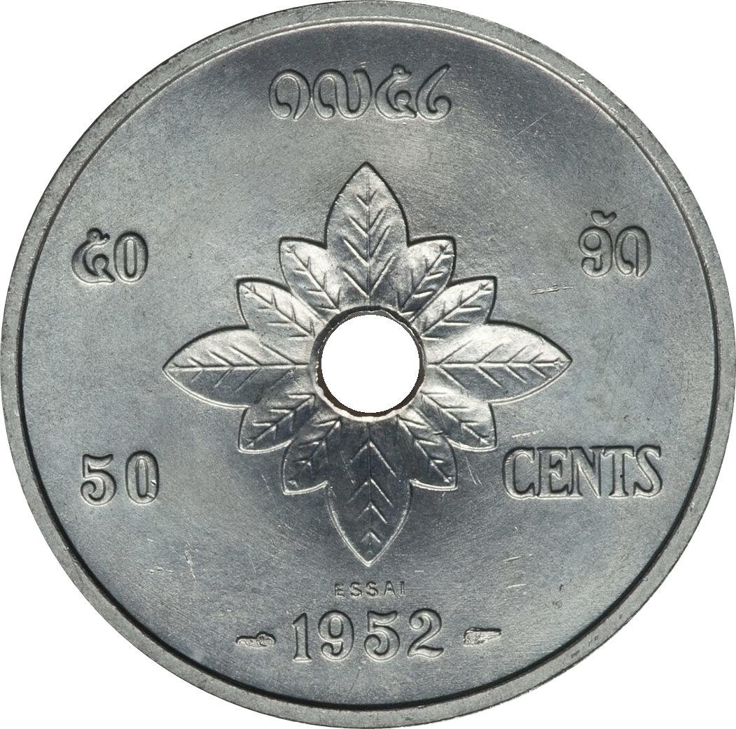 Laos set 3 coins 10 20 50 Cents 1952 UNC Lemberg-Zp