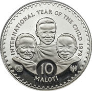 10 Maloti - Moshoeshoe II (International Year of the Child; Piedfort) – reverse