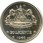 20 Licente - Moshoeshoe II (Independence Attained) – reverse
