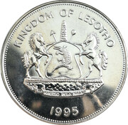 1 Loti (50 Years of the United Nations) – obverse