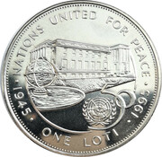 1 Loti (50 Years of the United Nations) – reverse