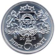 5 Lati (Bank of Latvia) – reverse