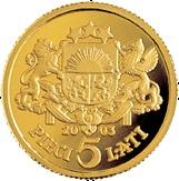 """5 Lati (Commemorative coin """"Five lats"""") – reverse"""