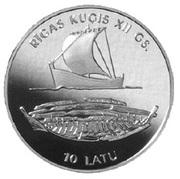10 Latu (Riga Ship) – reverse